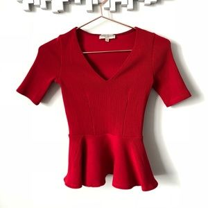Opening ceremony • red peplum ribbed blouse